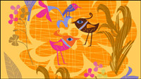 Belles fleurs peintes �� la main et les oiseaux vecteur -5