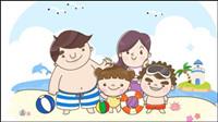 Une famille vont �� la plage le vecteur