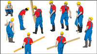 Vector of workers at work