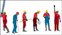 Travailleurs image et la silhouette 03 - vecteur