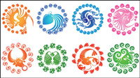 Doce constelaciones en el icono creativo - vector