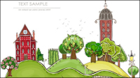 Cartoon city building Elementen Vektor Material -1