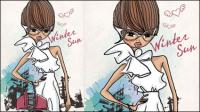 Fashion Shopping Girl 02 - Vektor Material