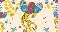Cartoon Liebe Vögel Muster 02 - Vektor Material
