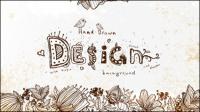 Retro l¨ªnea de arte floral fondo 01 - vector material