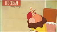 Die Retro Karikatur Ice Cream 02 - Vektor Material
