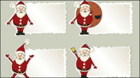 Cartoon Santa Claus label 01 - vector