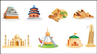 Cartoon landmarks - Vector