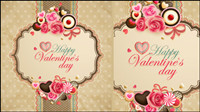 Old-fashioned Valentine cartes Vecteur -05