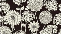 Exquisite schwarz-weiße Linie Kunst Hintergrund 02 - Vektor Material