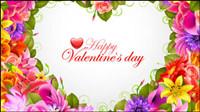 Saint Valentin fond de fleurs 04 - mat��riel vecteur