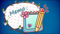 Cartoon Label Hintergrund 01 - Vektor Material