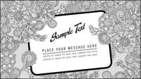 L¨ªnea arte de la cubierta tarjeta floral - vector de material