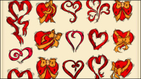 Exquisite hand-painted red heart 02 - vector material