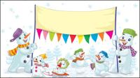 Cartoon Weihnachten Schneemann 01 - Vektor Material