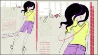 Chicas ilustrador de moda 02 - vector de material