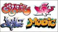 Fuentes Graffiti bellamente diseñados 03 - vector de material