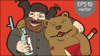 Chasseur de bande dessin��e avec des ours - mat��riel vecteur