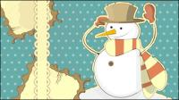 Snowman dekorative Malerei 01 - Vektor Material