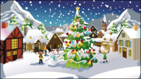Christmas scene Illustrator 03 - vector material