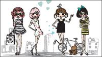 Die Karikatur Linien Mädchen 03 - Vektor Material
