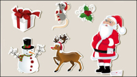 Christmas elements stickers 01 - vector material