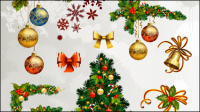 Christmas decorative elements 01 - vector material