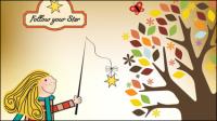 Ilustrador de dibujos animados de los niños 03 - vector de material