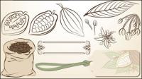 Fine ligne publi�� sur les f��ves de cacao - Vecteur