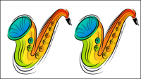 Vecteur mat��riel - 03 illustrations color��es peintes �� la main