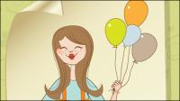 Cute cartoon illustrateur 01 - mat��riel vecteur
