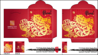 Year of the Dragon roten Umschlag template 03 - Vektor-Material