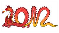 2012 Año del patr¨®n creativo del drag¨®n 08 - vector de material