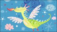 Cartoon dinosaure illustration de fond 01 - vecteur mat��riel
