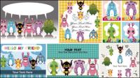Ilustrador de dibujos animados de los niños 02 - vector de material