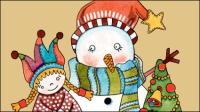 Navidad de la historieta ilustrador 01 - vector de material