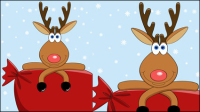 Cartoon Noël wapitis 03 - mat��riel vecteur