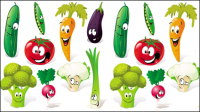Cartoon vegetables expression 01 - vector material