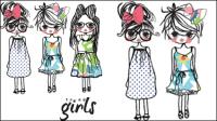 Karikatur-Mädchen-Linie 01 - Vektor Material