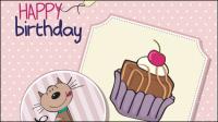 Cartoon Geburtstagskarte 01 - Vektor Material