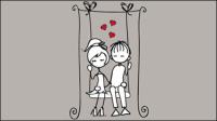 Line art illustration Valentine 05 - mat��riel vecteur