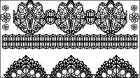Blanco y negro estampado de flores 01 - vector de material