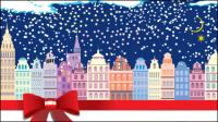 Cartoon Casa de la Navidad de fondo 05 - vector de material
