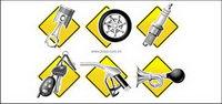 Auto Parts icono de la serie de vectores de material