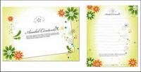 Schöne Blumen, Schreibwaren und dekorativen Karton Material Vektor