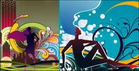 Pattern et silhouettes f��minines mat��riel vecteur