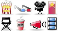 Kinokarten, Popcorn, Brille, Kamera, Icons Vektor