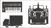 Camions, magn��toscopes, mat��riel vecteur d