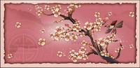 Pies, fleur de la prune, le vecteur de la branche