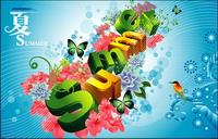 Sommer, Blumen, Schmetterlinge, Vögel dreidimensionalen Zeichen